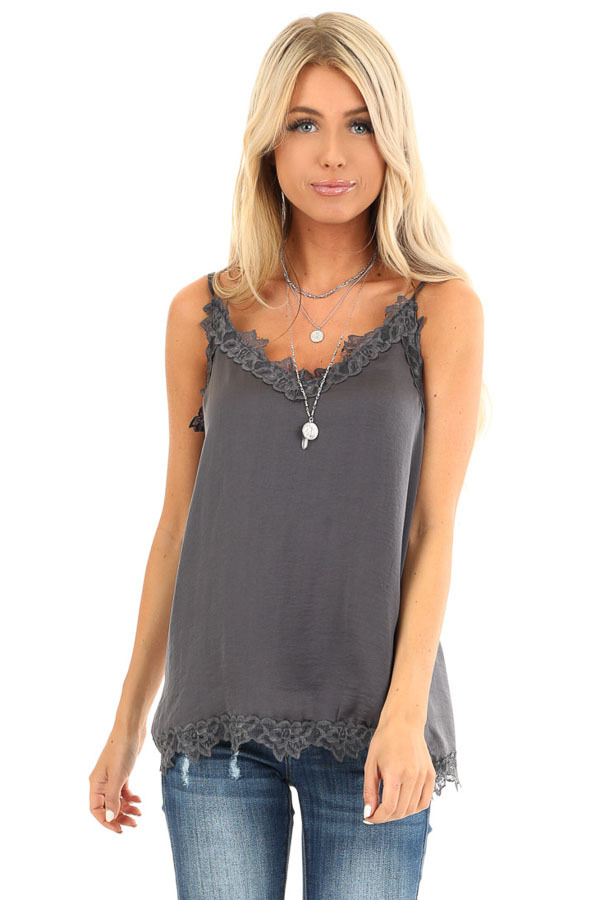 Charcoal Satin V Neck Tank Top with Lace Detail front close up