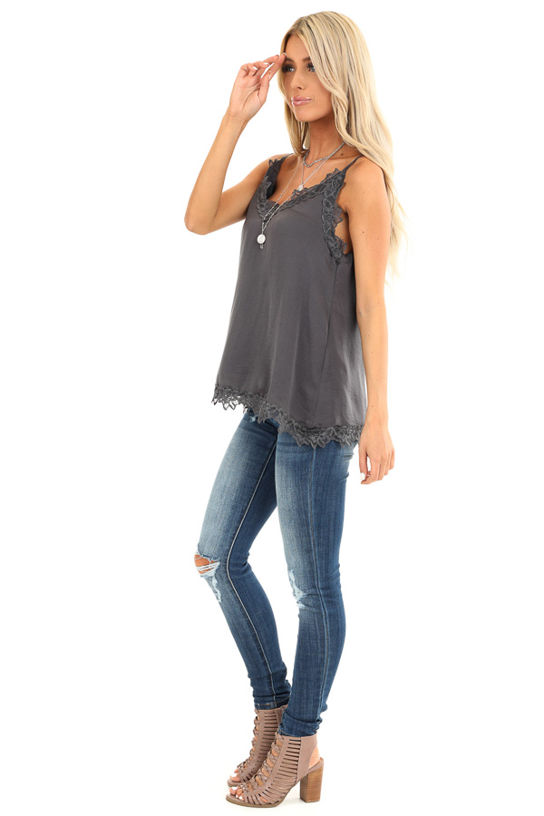 Charcoal Satin V Neck Tank Top with Lace Detail side full body