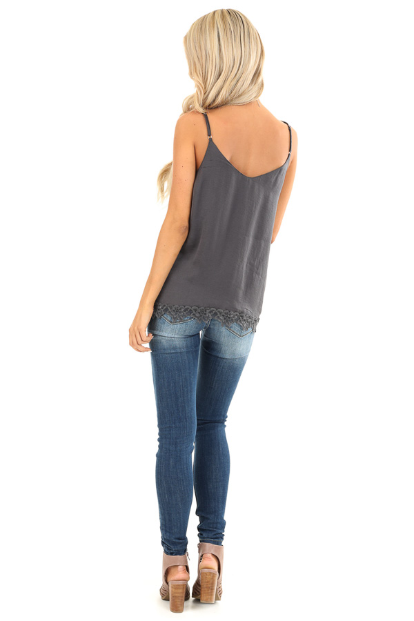 Charcoal Satin V Neck Tank Top with Lace Detail back full body