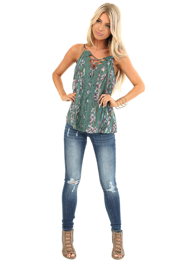 Forest Sleeveless Criss Cross Floral Blouse with Lace Detail front full body