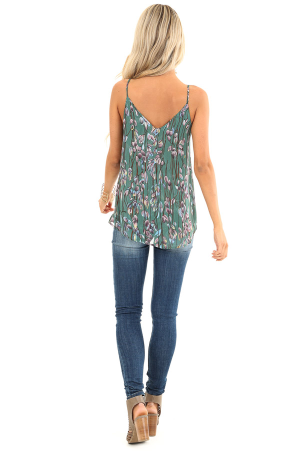 Forest Sleeveless Criss Cross Floral Blouse with Lace Detail back full body