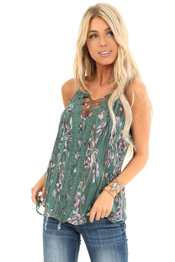 Forest Sleeveless Criss Cross Floral Blouse with Lace Detail front close up