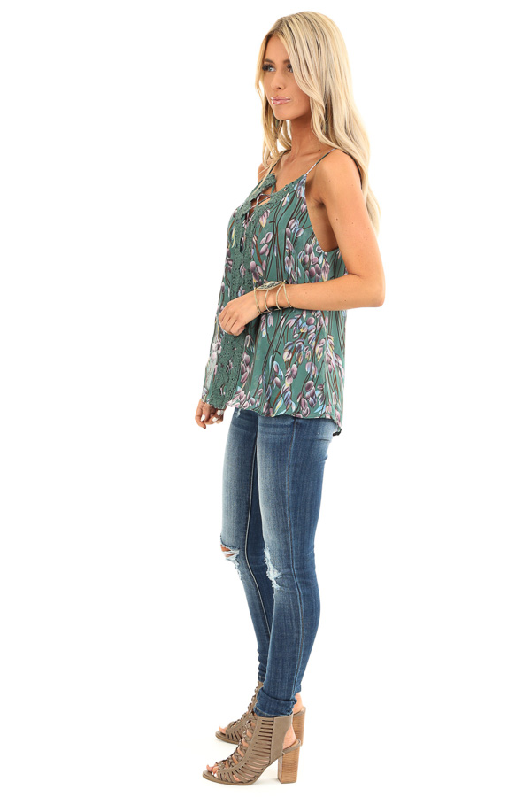 Forest Sleeveless Criss Cross Floral Blouse with Lace Detail side full body