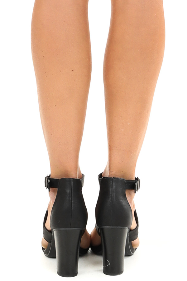 Black Open Toed Heel with Cutout Details and Ankle Strap back view