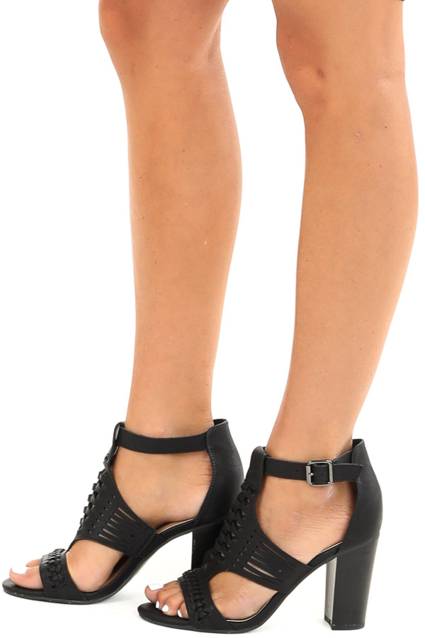 Black Open Toed Heel with Cutout Details and Ankle Strap side view