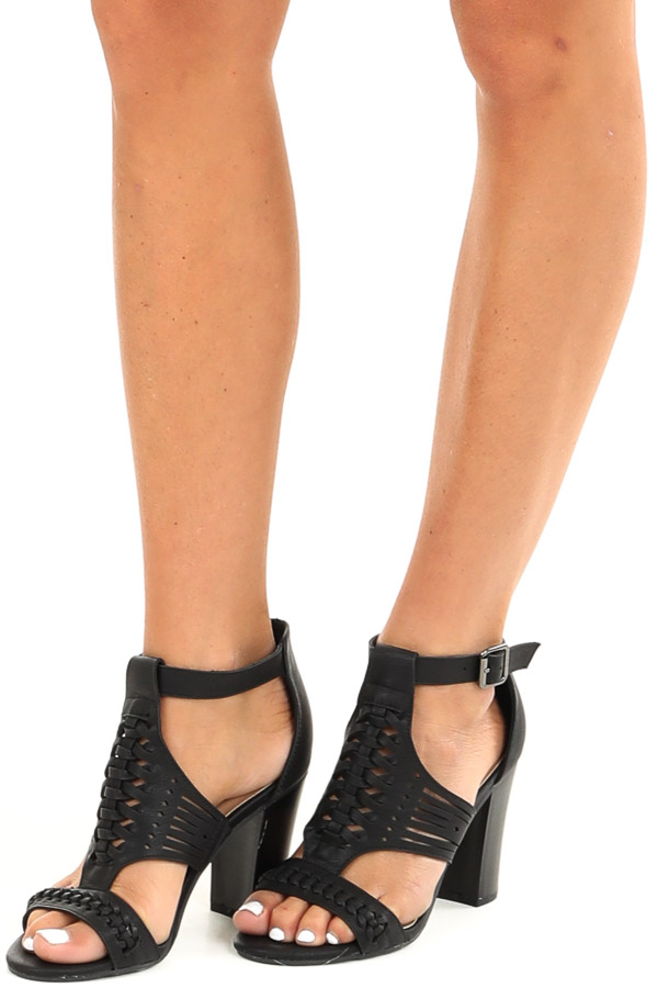 Black Open Toed Heel with Cutout Details and Ankle Strap front side view