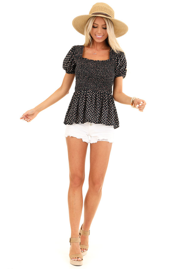 Midnight Floral Print Smocked Top with Short Puffed Sleeves front full body