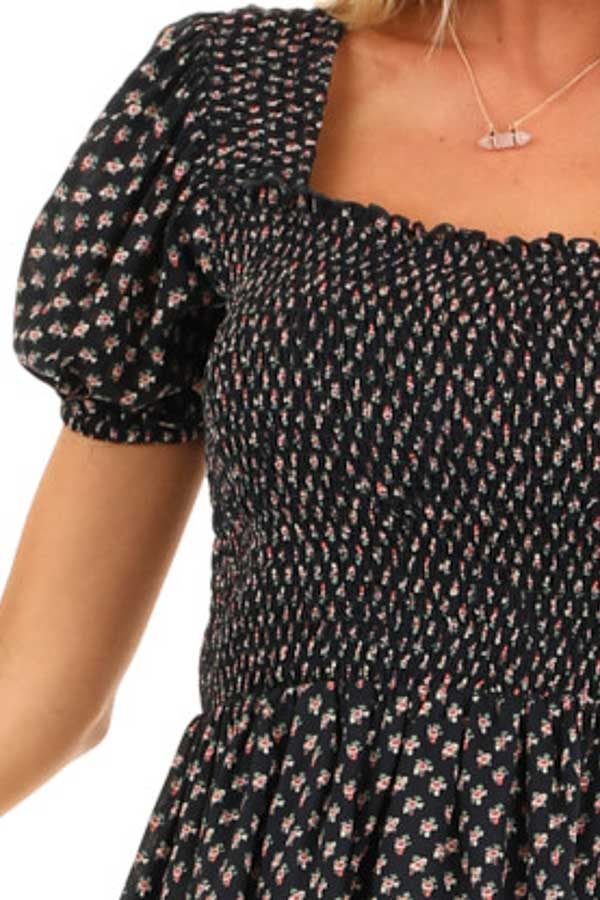 Midnight Floral Print Smocked Top with Short Puffed Sleeves detail