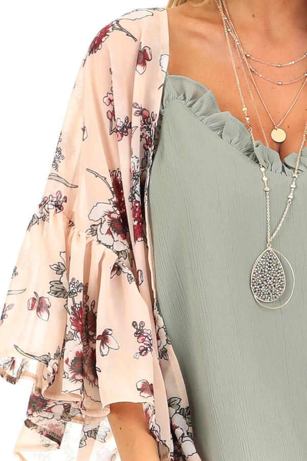 Peach Floral Print Open Front Kimono with Ruffle Sleeves detail
