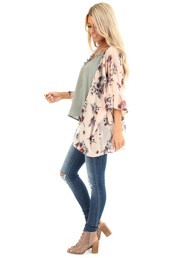 Peach Floral Print Open Front Kimono with Ruffle Sleeves side full body