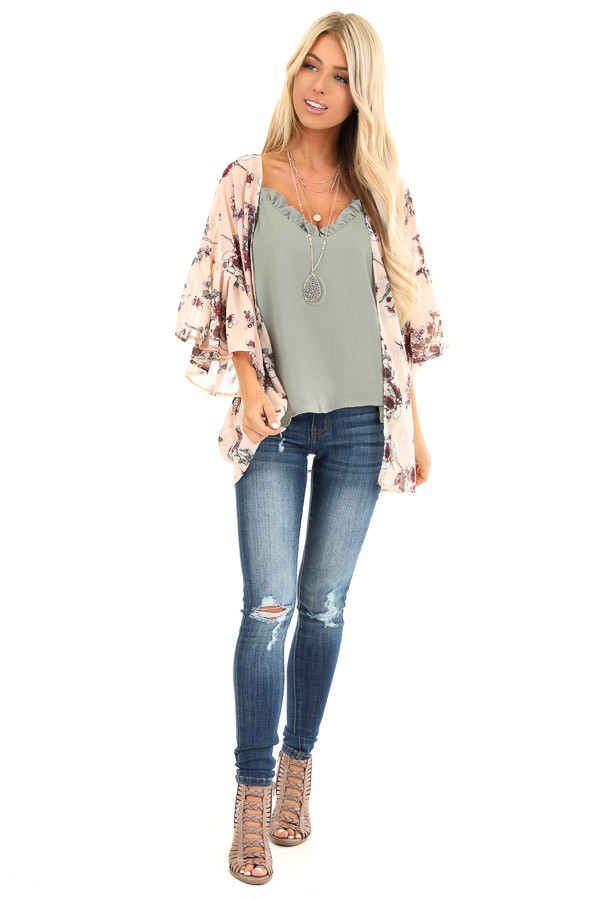 Peach Floral Print Open Front Kimono with Ruffle Sleeves front full body