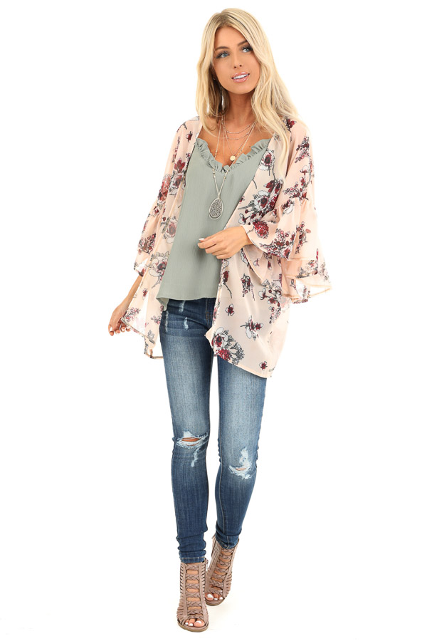 Peach Floral Print Open Front Kimono with Ruffle Sleeves back full body
