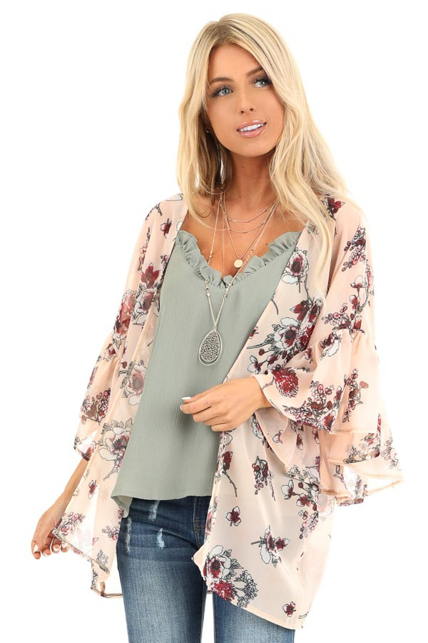 Peach Floral Print Open Front Kimono with Ruffle Sleeves back close up