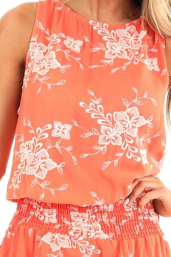 Coral Embroidered Sleeveless Top with Elastic Waistband detail