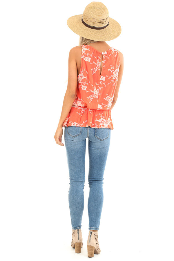 Coral Embroidered Sleeveless Top with Elastic Waistband back full body