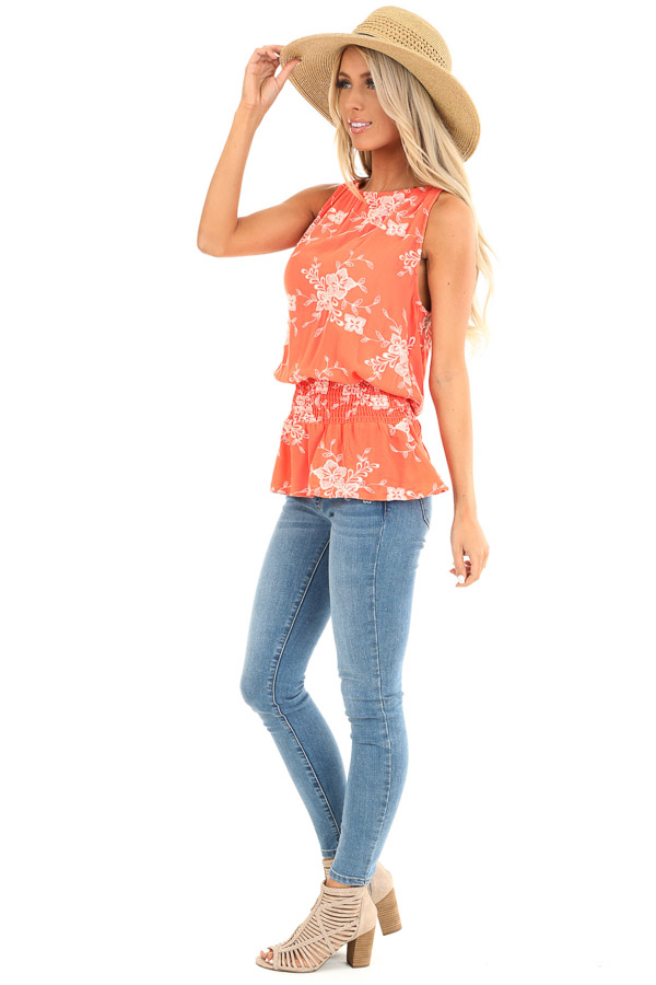 Coral Embroidered Sleeveless Top with Elastic Waistband side full body