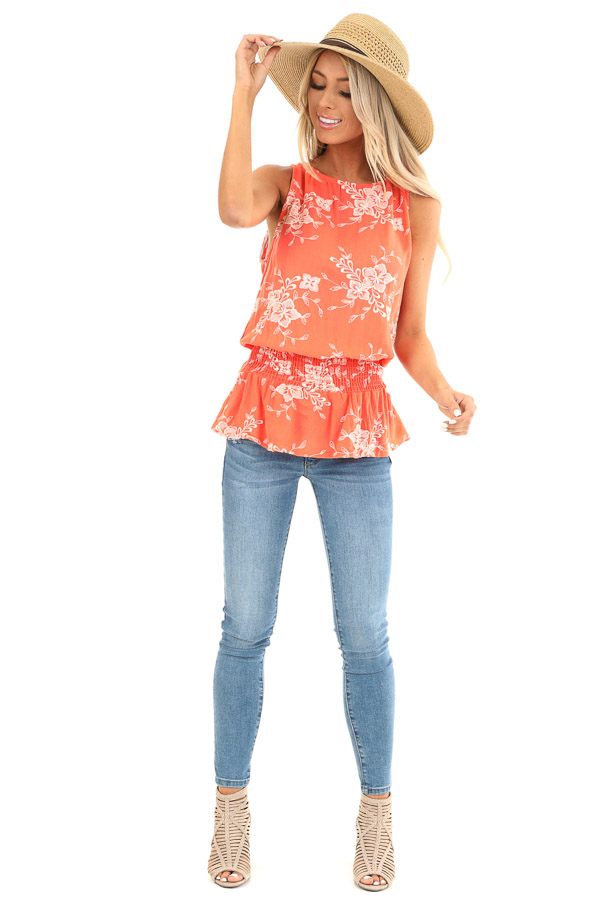Coral Embroidered Sleeveless Top with Elastic Waistband front full body
