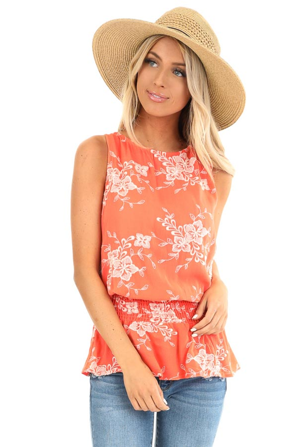 Coral Embroidered Sleeveless Top with Elastic Waistband front close up