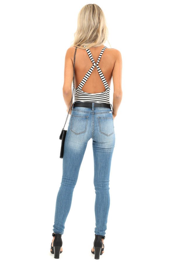 Off White Striped Bodysuit with Twisted X Back Straps back full body