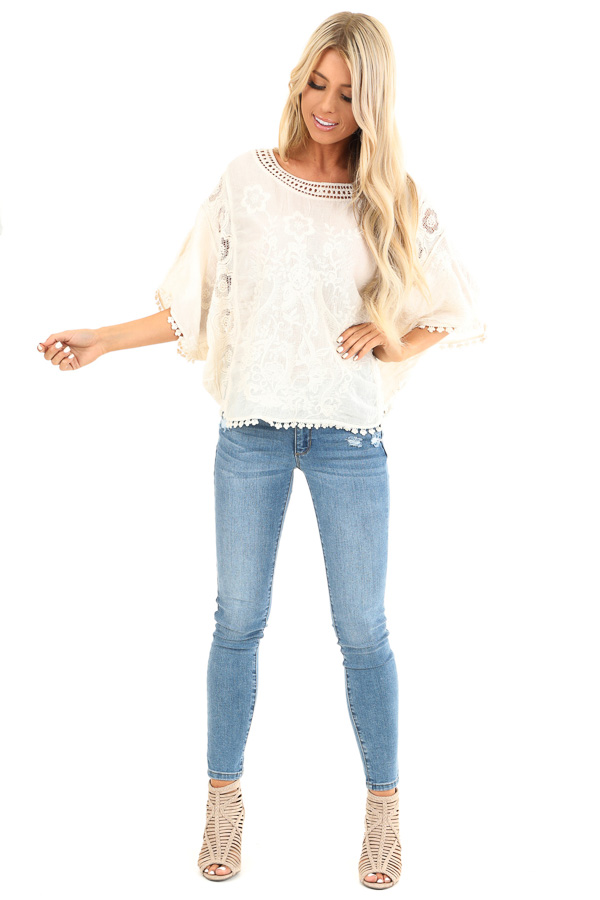 Cream Floral Embroidered Loose Blouse with Sheer Details front full body