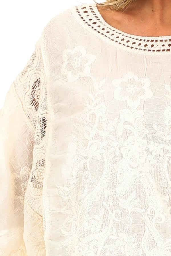Cream Floral Embroidered Loose Blouse with Sheer Details detail
