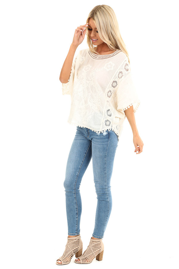 Cream Floral Embroidered Loose Blouse with Sheer Details side full body