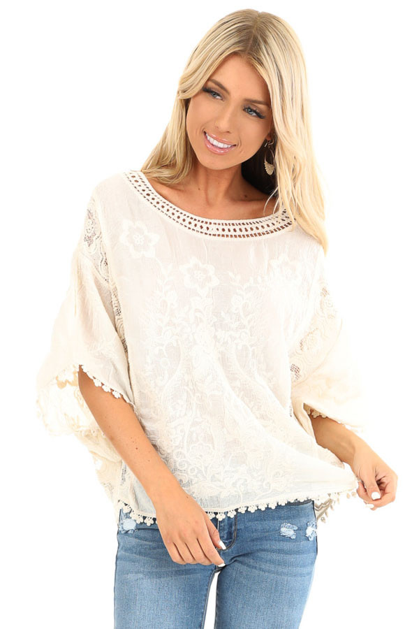 Cream Floral Embroidered Loose Blouse with Sheer Details front close up