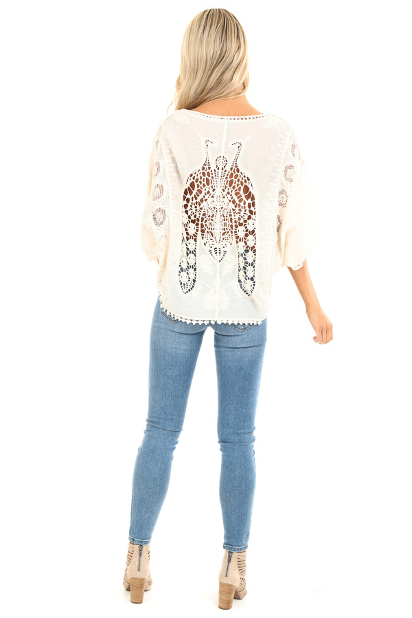 Cream Floral Embroidered Loose Blouse with Sheer Details back full body