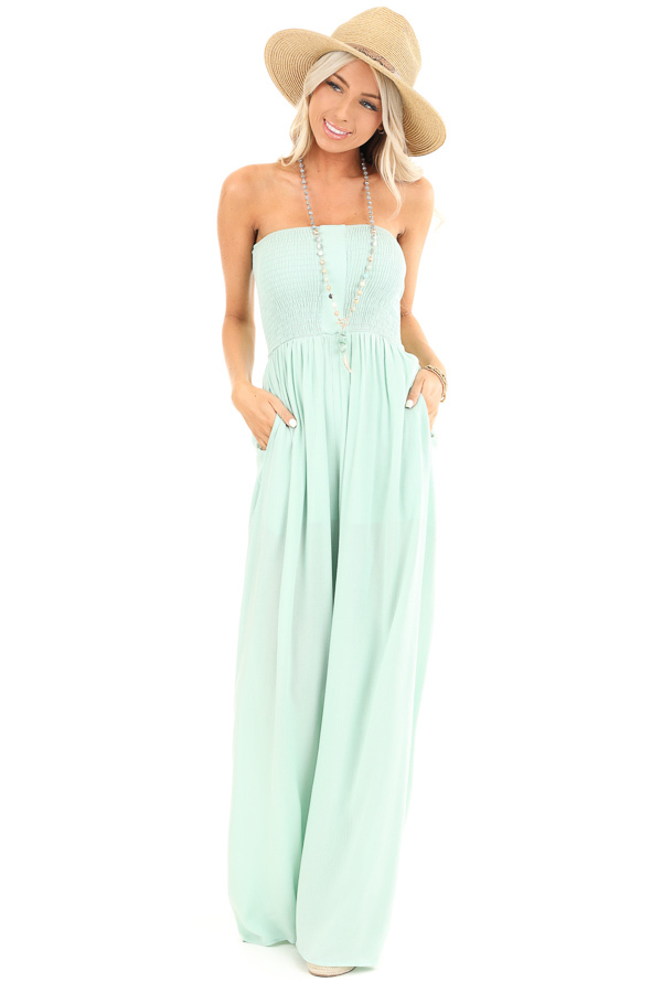 Mint Green Smocked Tube Top Jumpsuit with Pockets front full body