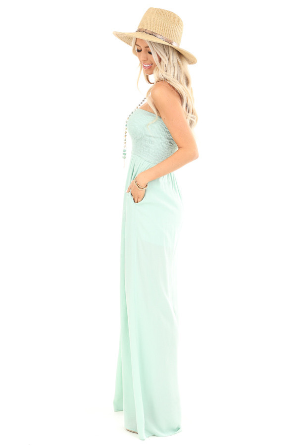 Mint Green Smocked Tube Top Jumpsuit with Pockets side full body