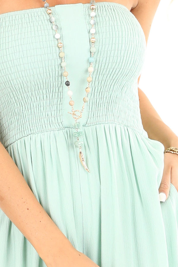 Mint Green Smocked Tube Top Jumpsuit with Pockets detail