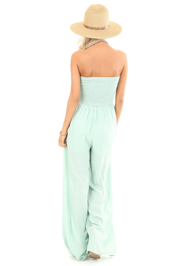 Mint Green Smocked Tube Top Jumpsuit with Pockets back full body