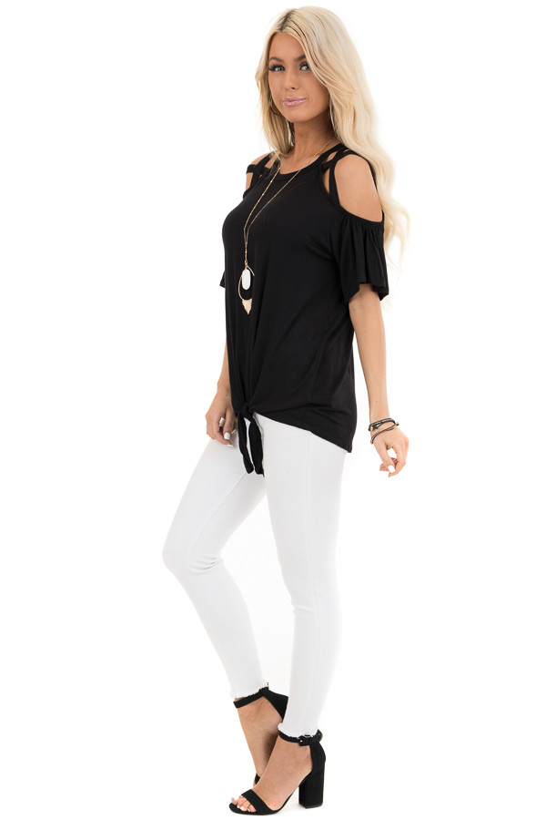 Jet Black Off the Shoulder Strappy Top with Front Tie Detail side full body