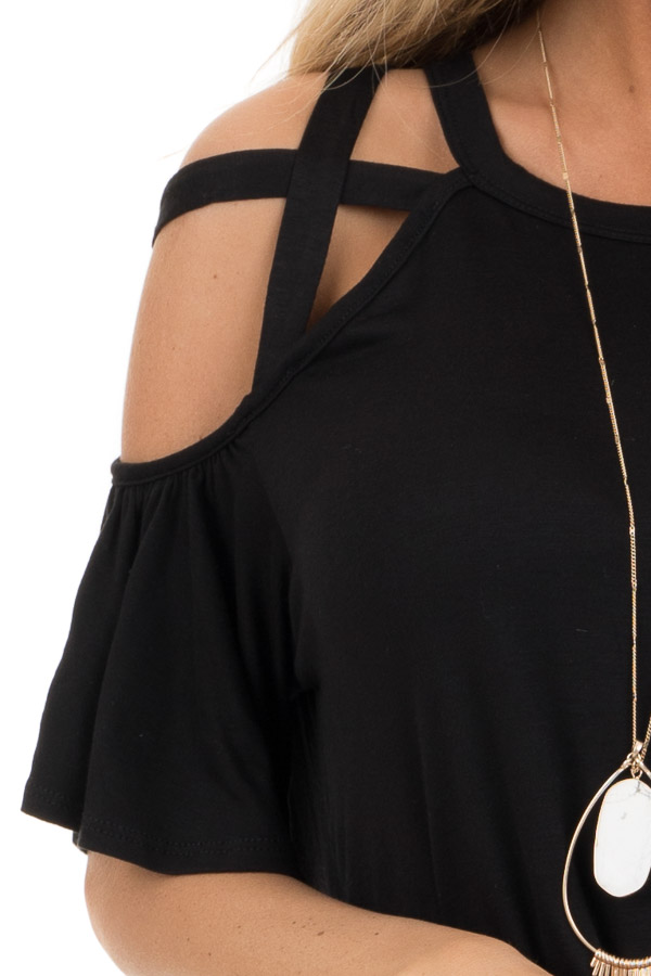 Jet Black Off the Shoulder Strappy Top with Front Tie Detail detail