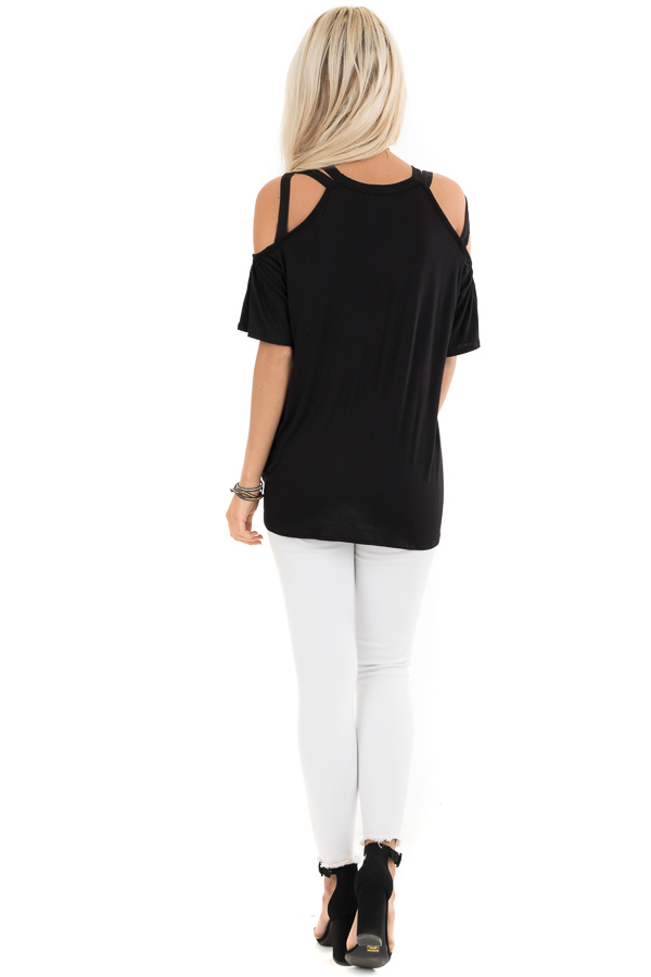 Jet Black Off the Shoulder Strappy Top with Front Tie Detail back full body