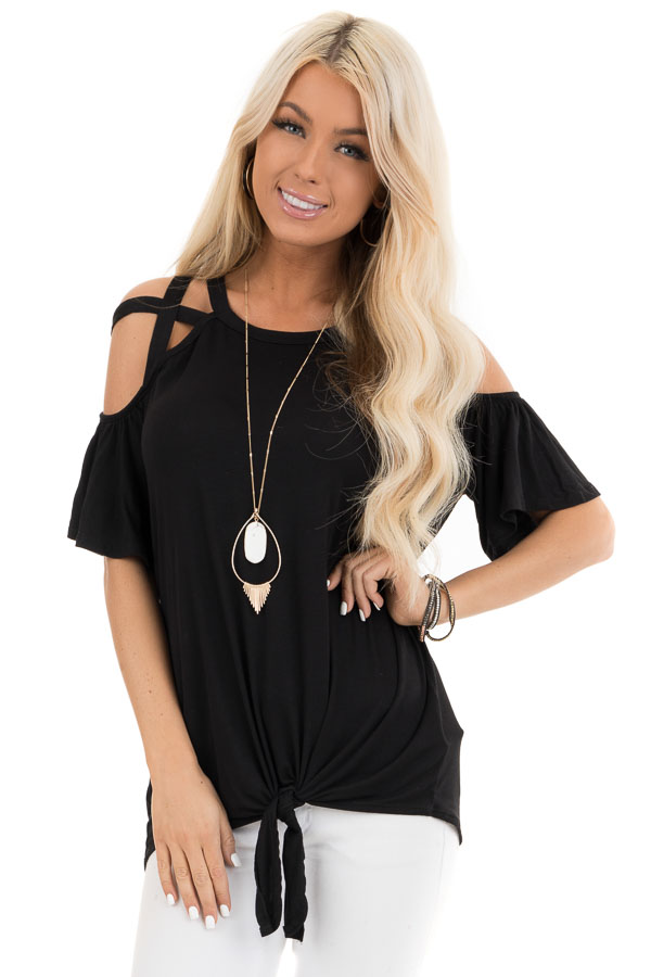Jet Black Off the Shoulder Strappy Top with Front Tie Detail front close up