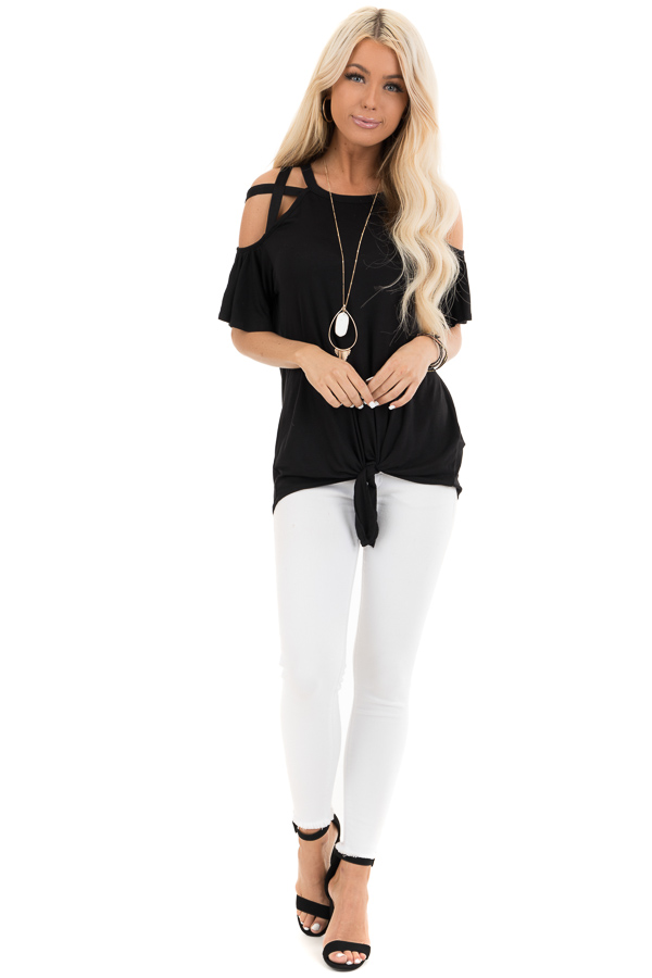 Jet Black Off the Shoulder Strappy Top with Front Tie Detail front full body