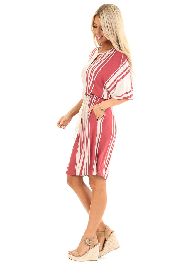 Brick and Oatmeal Striped Dress with Tie and Pockets side full body