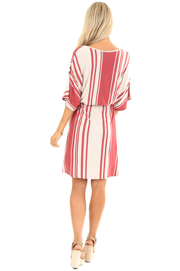 Brick and Oatmeal Striped Dress with Tie and Pockets back full body