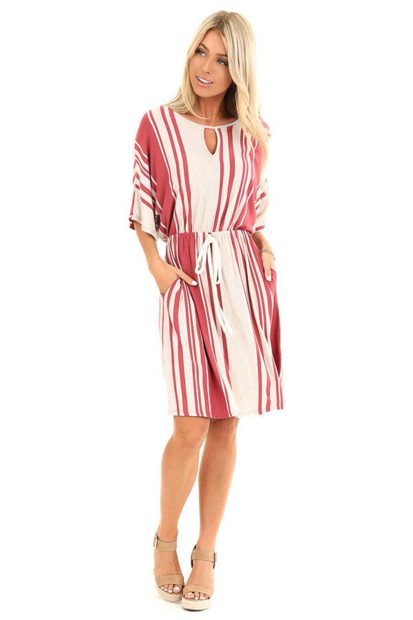 Brick and Oatmeal Striped Dress with Tie and Pockets front full body