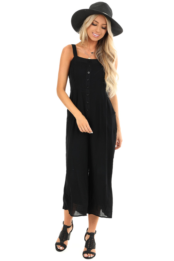 Jet Black Capri Length Jumpsuit with Buttons and Pockets front full body