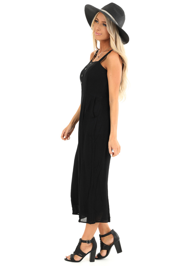 Jet Black Capri Length Jumpsuit with Buttons and Pockets side full body