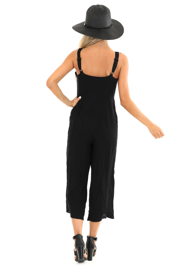 Jet Black Capri Length Jumpsuit with Buttons and Pockets back full body