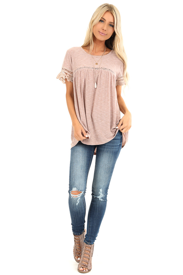 Washed Mauve Short Sleeve Top with Lace Detail front full body