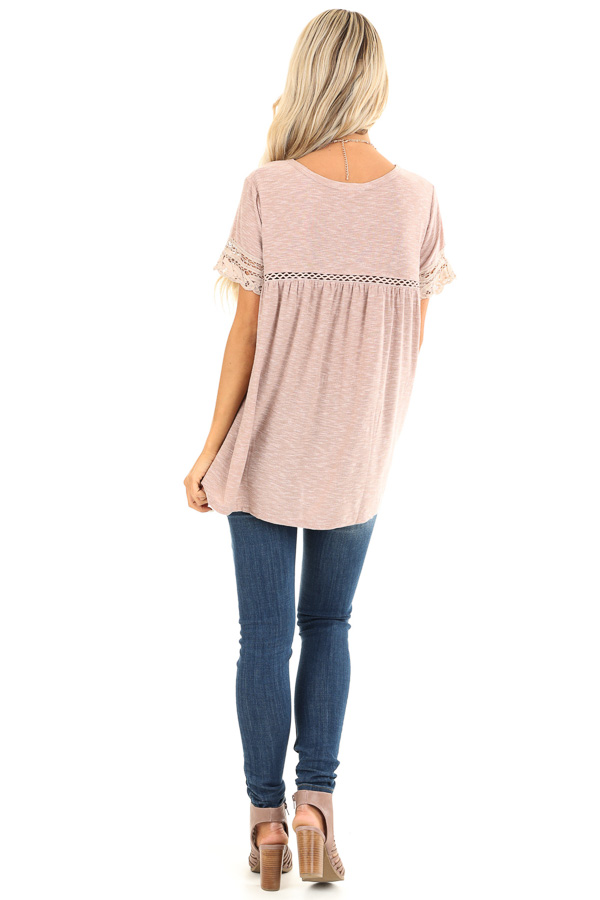 Washed Mauve Short Sleeve Top with Lace Detail back full body