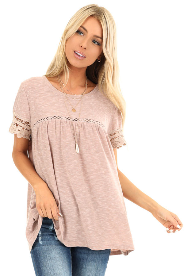 Washed Mauve Short Sleeve Top with Lace Detail front close up