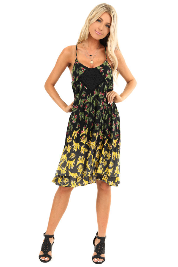 Jet Black Tropical Floral Print Dress with Lace Details front full body
