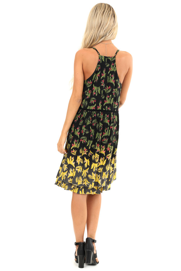 Jet Black Tropical Floral Print Dress with Lace Details back full body