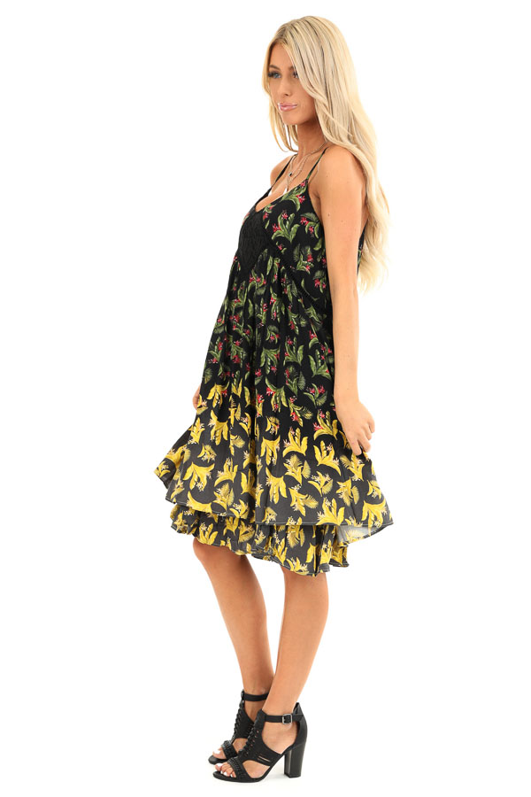 Jet Black Tropical Floral Print Dress with Lace Details side full body