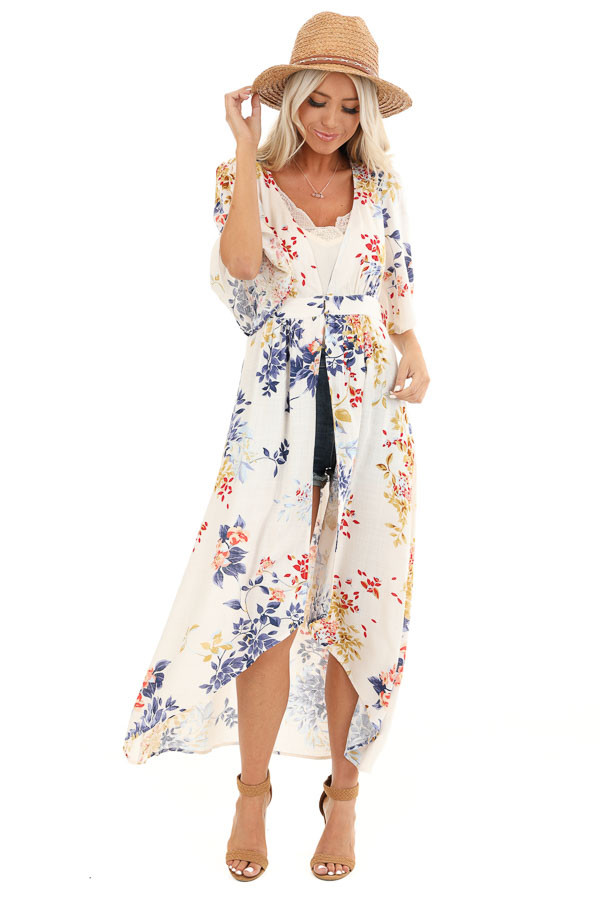 Ivory Floral Print Long Kimono with Double Button Closure front full body